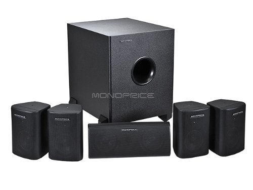 Monoprice 5.1-Channel Home Theater Satellite Speakers & Subwoofer - Black
