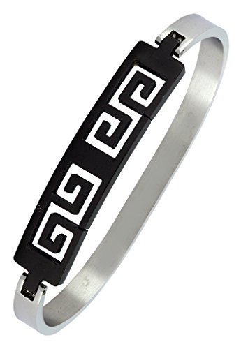 The Jewelbox Designer Black Rhodium Plated Surgical Stainless Steel Cuff Kada Bracelet Bangle for Men  available at amazon for Rs.683