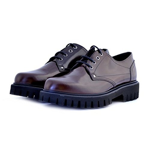 Scarpe stringate Soldini uomo numero 43 19635BORDEAUX, pelle bordeaux, man shoes burgundy leather fondo gomma carrarmato
