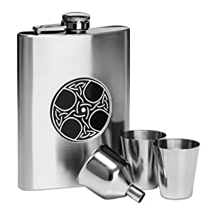Premier Housewares Celtic Hip Flask Set - Stainless Steel
