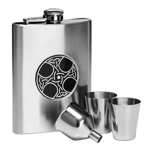 Premier Housewares Celtic Hip Flask Set, Stainless Steel