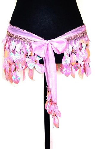 Belly Dance Silk Chiffon Shiny Leaf Hip Scarf Belt Wrap -- Pink & Gold