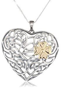 18k Yellow Gold Plated Sterling Silver Two-Tone Oxidized Celtic Heart Knot and Clover Pendant Necklace, 18