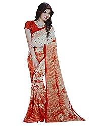 LolyDoll Women's Brasso Floral Print Orange-Red Bollywood Saree, Casual/Festival_SR30