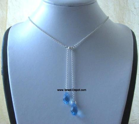 Swarovski Aquamarine Blue Teardrop Crystals 925 Silver Chain Nec