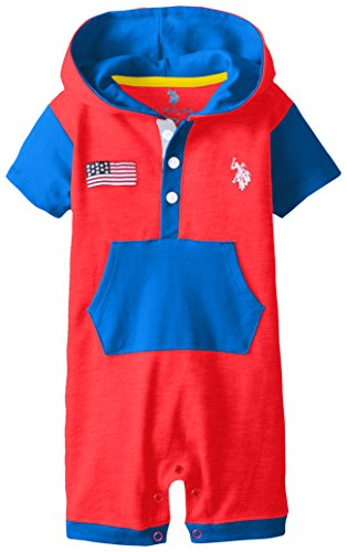 U.S. Polo Assn. Baby-Boys Newborn Interlock Color Block Hoody Romper, Engine Red, 6-9 Months