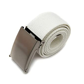 Ceinture De Boucle Multicolore Pour Hommes Unisexe Plaine Coton Toile Métal (Blanc)
