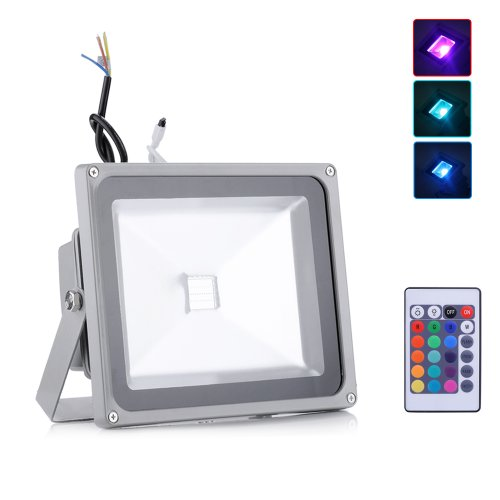 10Pcs 30W Led Spotlight Flood Lights Fixtures Lamps Outdoor Waterproof Floodlight Remote Control Rgb Color Changing