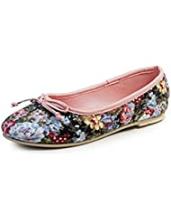 Beanz Rosie Black Floral/Pink Cotton Ptinted Cloth Ballerina For Girls Size 26 EU