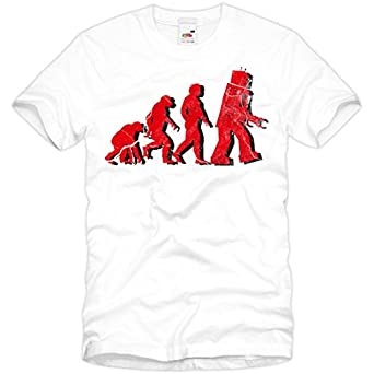 style3 Évolution T-Shirt Homme The Big Bang Theory Sheldon tbbt, Taille:S;Couleur:Blanc