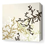 """Coral Stretched Wall Art in Moss Size: 34"""" x 34"""""""