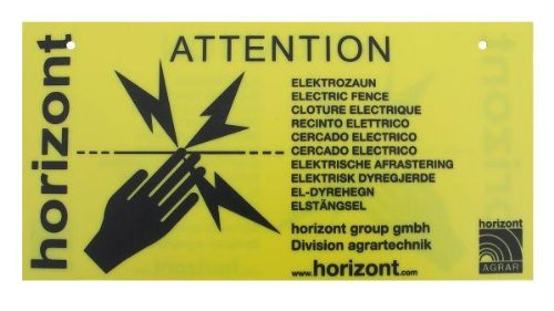 Horizont Warning Sign For Fences, 20X10Cm, With 8 Cable Connectors (4 Pack)