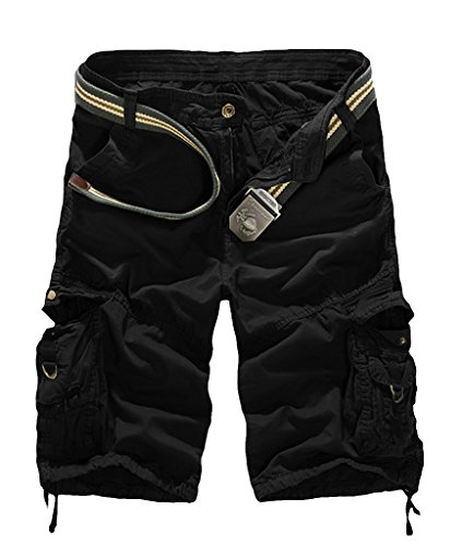 J-SUN-7 Men's Basic Loose Fit Multi Pocket Cargo Shorts(K19 Black,Size 32) Cargo Climbing Shorts