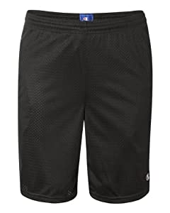 Champion Men's Long Mesh Short With Pockets, Black,Medium