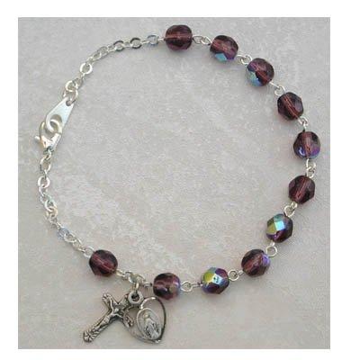 Sterling Silver Womens Rosary Bracelet Dark Amethyst February Birthstone.