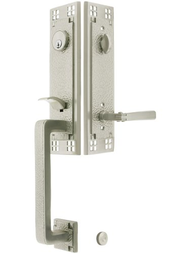 """Arts & Crafts Style Tubular Handleset In Satin Nickel With Old Town Knobs And 2 3/4"""" Backset. Antique Door Handles. front-904256"""