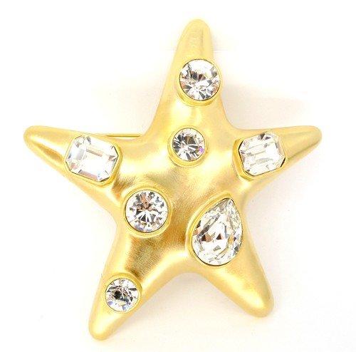 Gold Brooch Pin Swarovski Crystals Star Pin Brooch