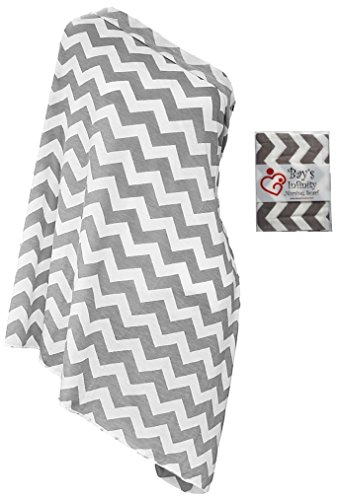 Bay's Infinity Nursing Scarf for Breastfeeding - Double-Sided Grey Chevron Pattern - Incredible Quality, Super Soft