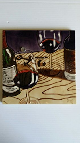 "8"" X 8"" High Gloss, Raised Image, Unique, Handcrafted, Decorative, Ceramic, Artist Tile, Wall Plaque, with Hanger / Stand, Two Red Wine Cups with Vin Mayo Wine"