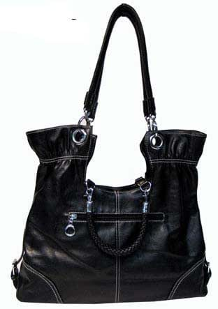 Fold-over Braided Handbag (Black)