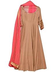 Monika Silk Mill Presents Designer Beige,Pink Georgette Gown With Net Dupatta Without Bottom