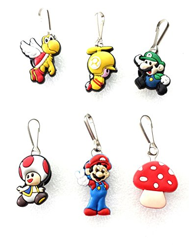 6 pcs #2 Nintendo Super Mario Brothers Zipper Pulls Charms