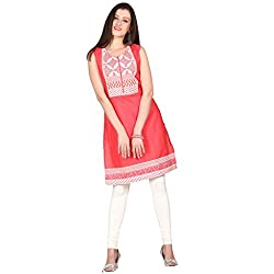 Janasya women Red Solid kurtis