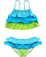 TIAOBU Girls Ruffled Tankini Spaghetti Swimsuit Swimwear