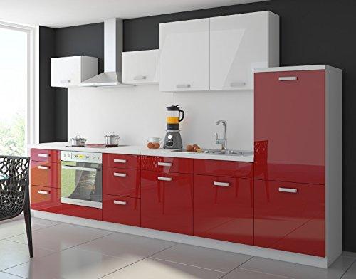Kche-Color-340-cm-Kchenzeile-Kchenblock-Einbaukche-in-Hochglanz-Rot-Weiss