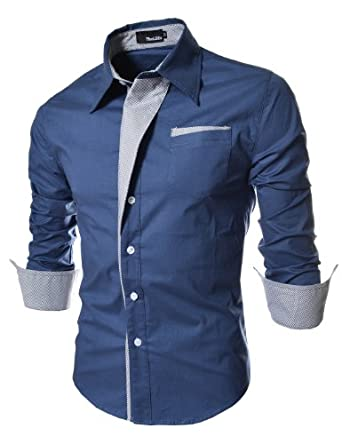 TheLees Mens Casual Long Sleeve Stripe Patched Fitted Dress Shirts Blue Medium(US X-Small)