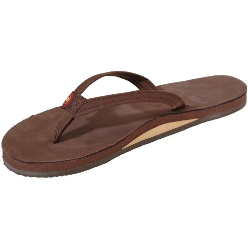 Rainbow Sandals Women Premium Leather Narrow Strap Single Layer, Expresso, Large (7.5-8.5) front-971828