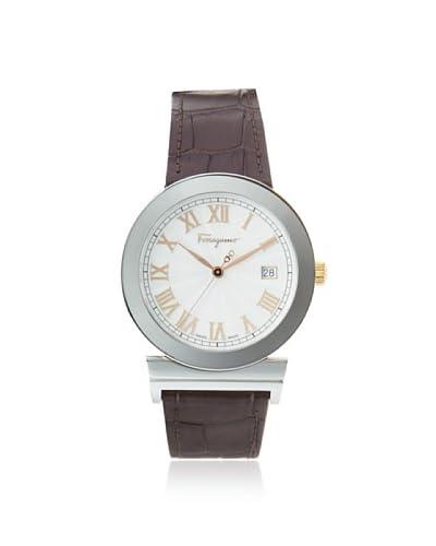 Ferragamo Mens F71LBQ9902 S497 Brown/Silver Leather Watch