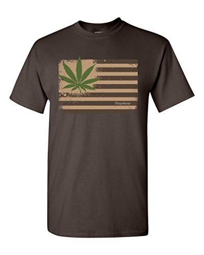Pot-Leaf-USA-Flag-T-shirt-Marijuana-420-Shirts-Small-Dark-Chocolate-XIT-12967