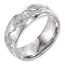 buy 8Mm Classic Domed Laser Engraved Christian Cross W/ Flame Design Titanium Wedding Band - Size 8