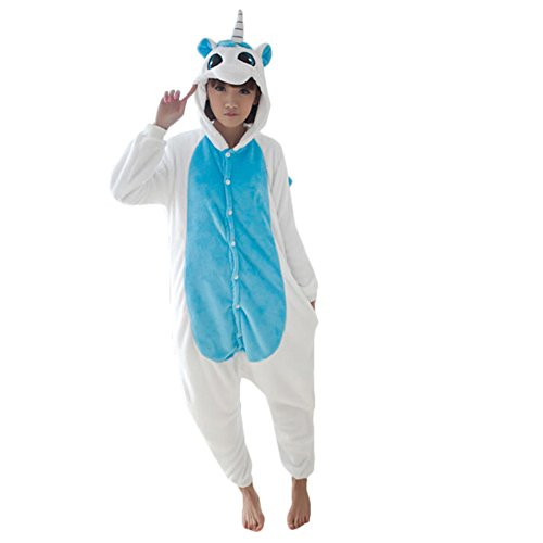 Blue Cartoon Animals Unicorn Coral Fleece Piecepajamas Soft Party Cosplay Costume