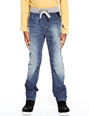 Pure Cotton Ribbed Waistband Jeans