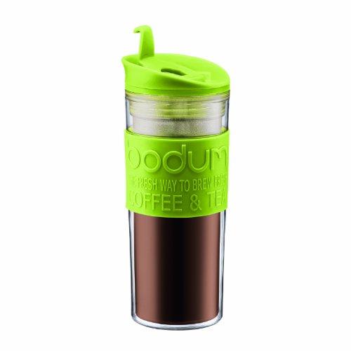 Bodum Insulated Plastic Travel Mug, 0.45-Liter, 15-Ounce, Green