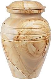 The UrnConcern® Bendemeer Cremation Urn, A Teak Wood Grain Polished Marble Cremation Urn, 7