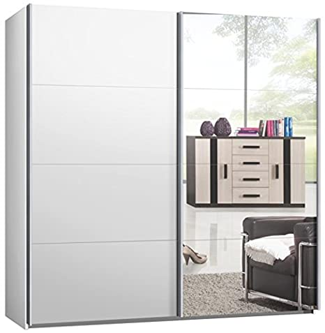 Switch Schwebeturenschrank Kleiderschrank in versch. Größen, 2- oder 3-Turig Korpus Weiß matt, Front: Spiegel und Weiß matt (225 cm)