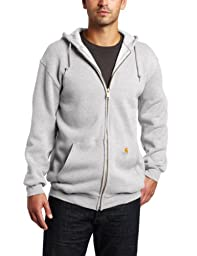 Carhartt Men\'s Big & Tall Midweight Sweatshirt Hooded Zip Front Original Fit K122,Heather Grey,XXXX-Large
