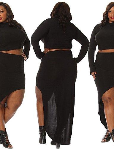 ZXR-Parti-pour-femme-sexy-taille-plus-Plage-Casual-col-roul-T-shirt--manches-longues-avec-une-jupe-longue-deux-pices-L-XXXL