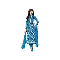 Paridhan Women's Cotton Unstitched Suit (SRPR 16105B_Blue_Free Size)