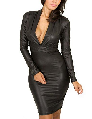 Cfanny Women Plunging V-neck Long-sleeve Leather Mini Dress Black Large