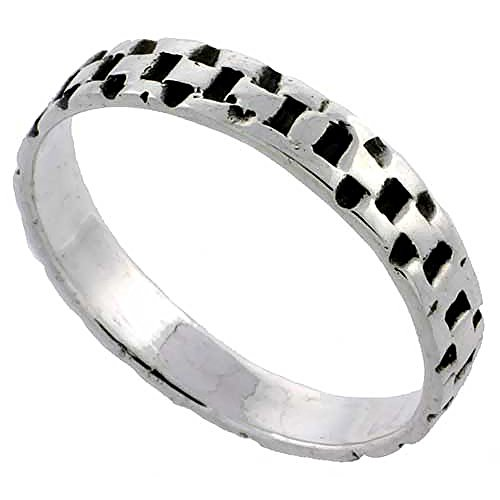 Sterling Silver Link Chain Ring Wedding Band 3/16 Inch Wide, Size 6