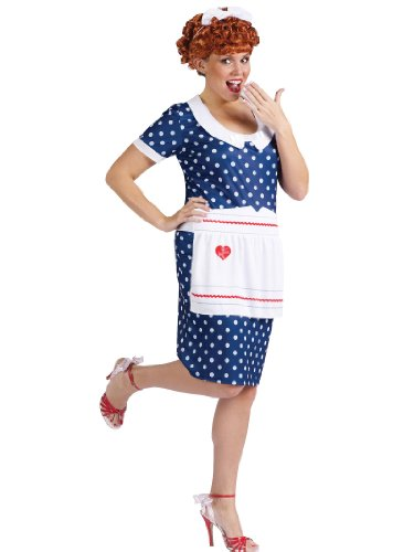 Plus Size I Love Lucy Costume Blue Dress Apron Wig Womens Theatrical Costume