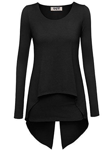 DJT - Maglietta maniche lunghe a doppio strato - Donna Nero X-Large
