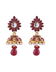 Ganapathy Gems 1 Gram Gold Plated Jhumka With Maroon Srone And Pearl Drop With Marron Droplet