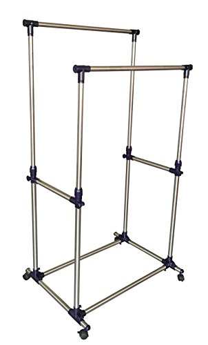 EWEI'S HomeWares Premium Heavy Duty Double Rail Adjustable Telescopic Rolling Clothing and Garment Rack (Adjustable Double Garment Rack compare prices)