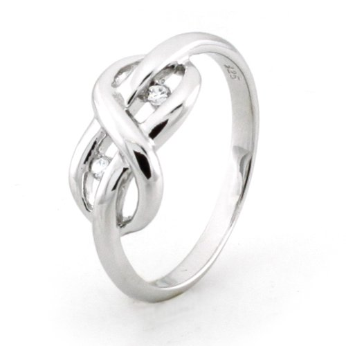 Sterling Silver Infinity Promise Knot Ring w/ Cubic Zirconia (Size ) Available Size: 5, 6, 7, 8, 9