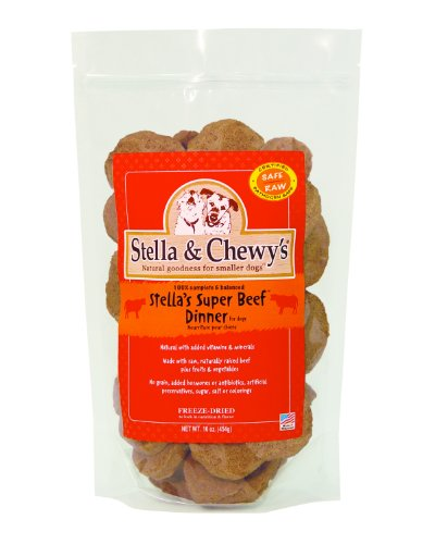 Stella & Chewy's Freeze Dried Dog Food for Adult Dogs, Beef Patties, 32 Count, 16 Ounce Bag